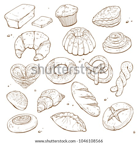 Hand drawn bread isolated on white background. Bakery objects vector illustration in sketch style.
