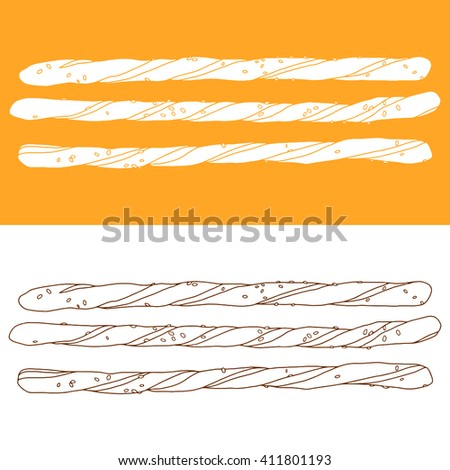 hand drawn bread sticks vector