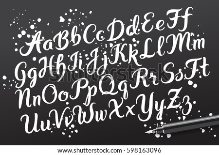 Hand drawn brush pen alphabet letters. Handwritten script font. Hand lettering custom typography with pen