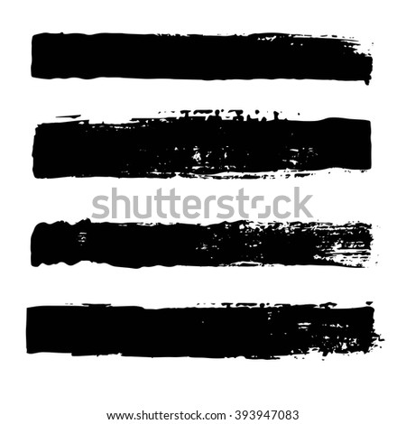Hand Drawn Brush Stroke Collection . Grunge Dirty design elements. Vector isolated. #393947083