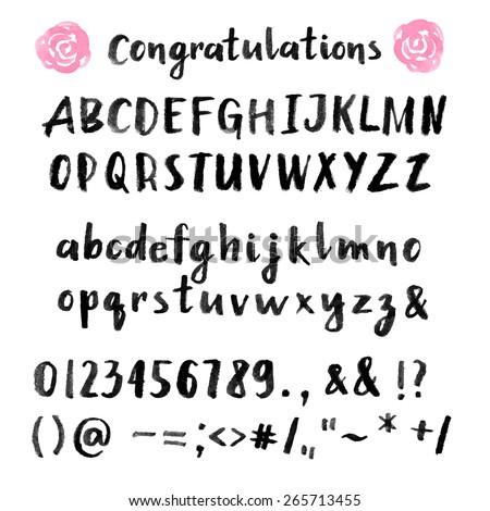 Hand drawn brush stroke font