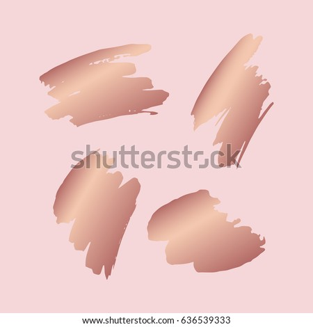 Hand drawn brush strokes. Elements for design. Abstract vector stains in rose gold color
