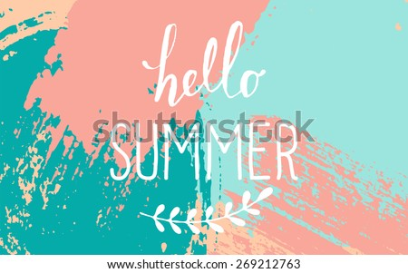 stock-vector-hand-drawn-brush-strokes-summer-design-pastel-blue-pink-and-turquoise-color-palette-hello