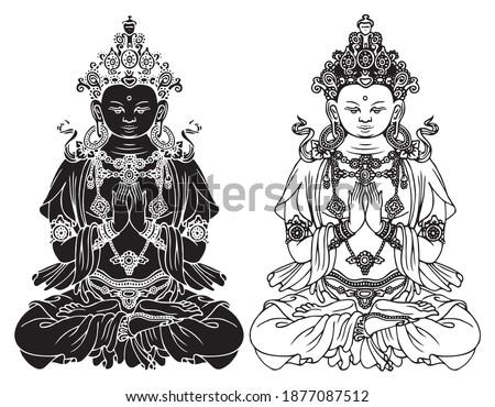 hand drawn buddha shakyamuni