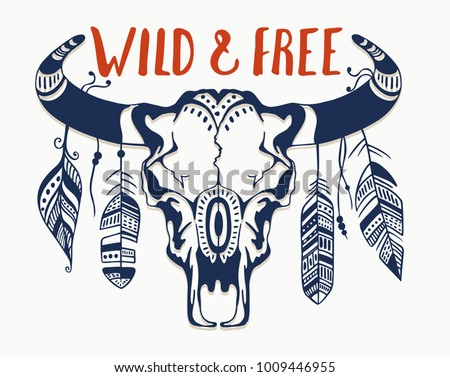 hand drawn buffalo skull with
