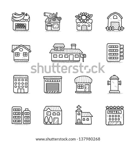 Hand drawn Building icon set