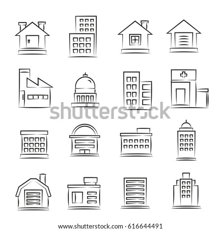 hand drawn building icons