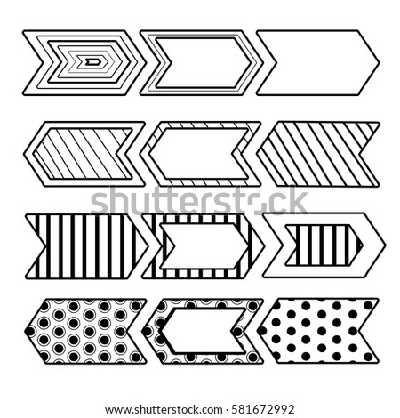 Hand drawn bullet journal elements. Ribbon or banner set.  Line style decoration. Decorative elements for notes and copybook. Vector ornate elements design. Line art  collection.
