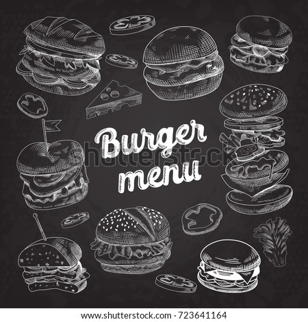 Hand Drawn Burgers on Blackboard. Fast Food Menu with Cheeseburger, Sandwich and Hamburger. Vector illustration