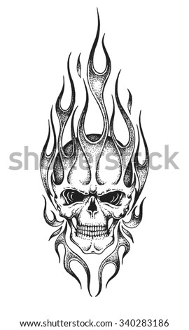 hand drawn burning skull