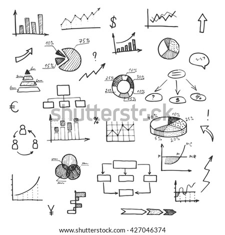 Hand drawn business doodle set of chart, graph, daigram, arrow. Vector sketch for finance planning, ideas, reports.