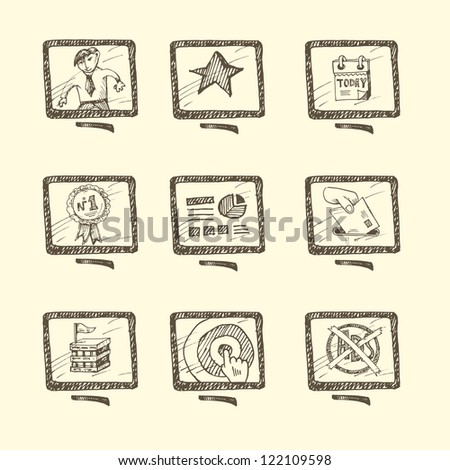 Hand drawn business icon set - stock vector