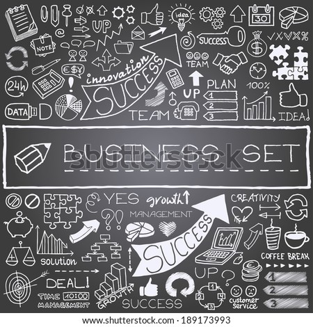 Hand drawn business icons set. Vector illustration.