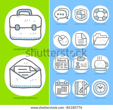 Hand drawn Business,office icon set