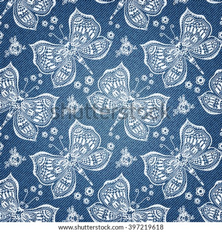 Hand drawn butterfly pattern on denim background