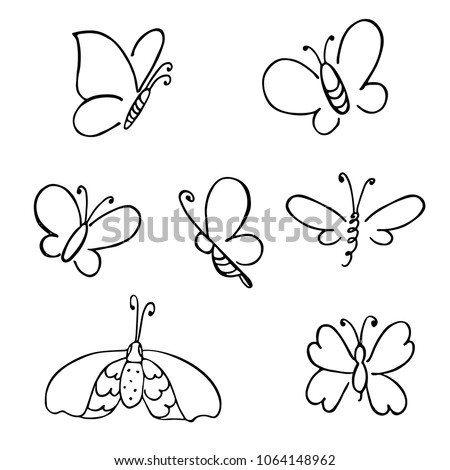 stock-vector-hand-drawn-butterfly-vector-doodled-elements-for-decoration