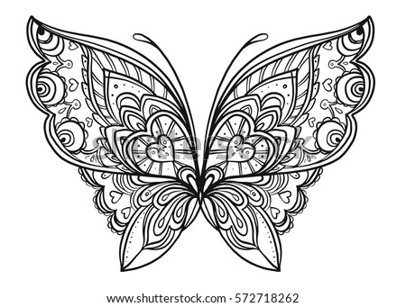 1a0ab1db7a319 Hand drawn butterfly zentangle style inspired for t-shirt design or tattoo.  Coloring book