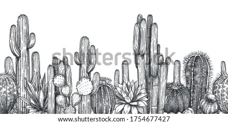 Hand drawn cactuses. Sketch cartoon succulent agave, saguaro and prickly leaved pear with . Desert or drought plants, botanical horizontal seamless pattern engraving vector illustration.