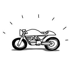 hand drawn cafe racer motorcycle