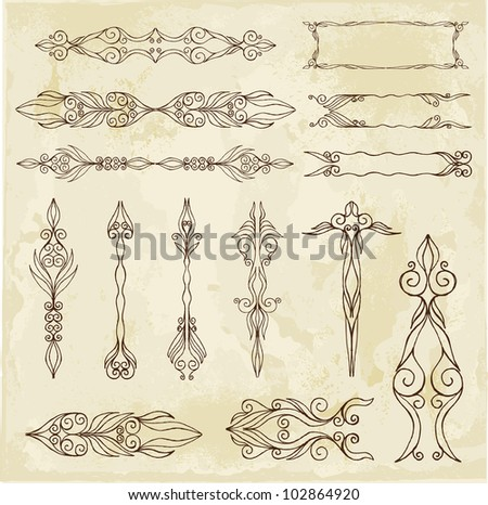 Hand-drawn calligrafic arrows - stock vector