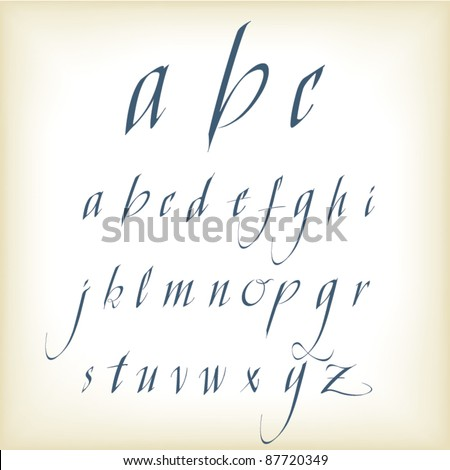 Hand drawn calligraphic alphabet in vector