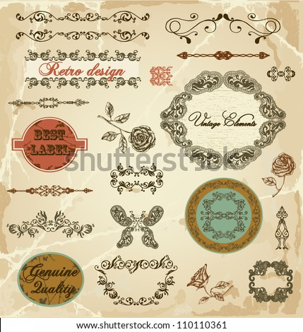 Hand drawn calligraphic design elements and decoration