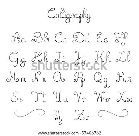 stock vector Hand drawn calligraphic font in vector format