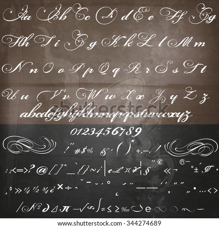 Hand drawn calligraphic font in vintage style