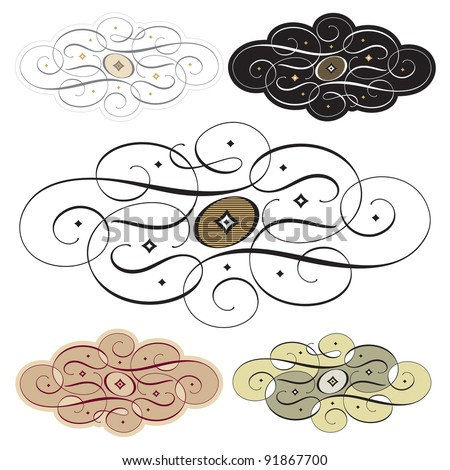 Hand drawn calligraphic swirls and ornaments, vector (eps8) - stock vector