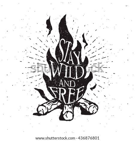 hand drawn campfire typography...