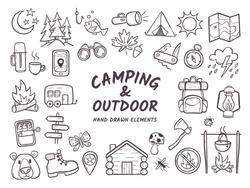 Hand drawn camping and hiking elements, isolated on white background. Cute background full of icons perfect for summer camp flyers and posters. Outlined vector illustration.