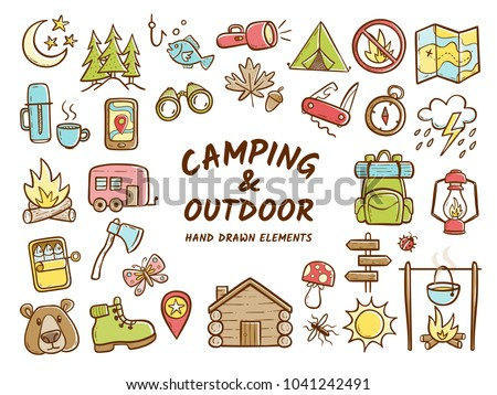 Hand drawn camping and outdoor recreation elements, isolated on white background. Cute background full of icons perfect for summer camp flyers and posters. Vector illustration. - Shutterstock ID 1041242491
