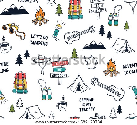 Hand drawn camping elements seamless pattern. Camping background. Camping doodle illustration. Vector illustration. Seamless pattern with cartoon camp bag, guitars, mugs, Camping tents , slogans.