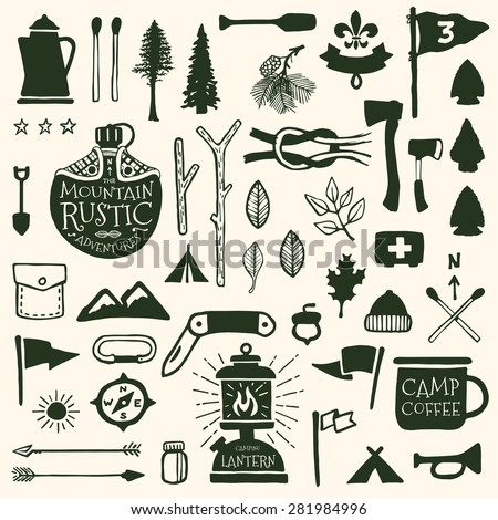 Hand drawn camping icons and sketched scout graphics