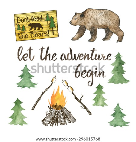 hand drawn camping set with...