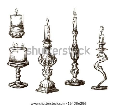 Hand drawn candles. Retro candlesticks.