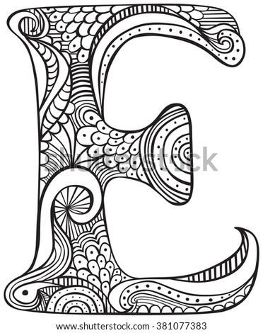 Royalty Free Stock Photos And Images Hand Drawn Capital Letter E In Black