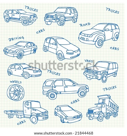 Hand-drawn car doodles Click on my name below to see a huge collection of doodles