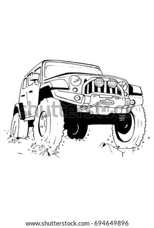 hand drawn car  vector