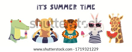 Hand drawn card, banner with cute animals, text Its Summer Time. Vector illustration. Isolated on white background. Scandinavian style flat design. Concept for children holidays print, invite, poster. Stock photo ©