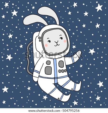 Hand drawn card with bunny cosmonaut made in vector