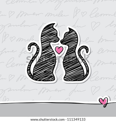 hand drawn card with cats and heart - stock vector