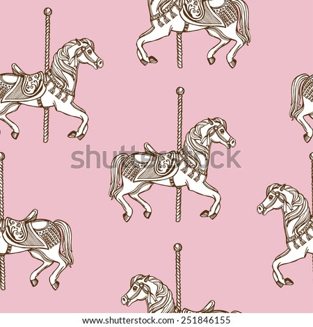 Hand drawn carousel horse seamless pattern. Pink background