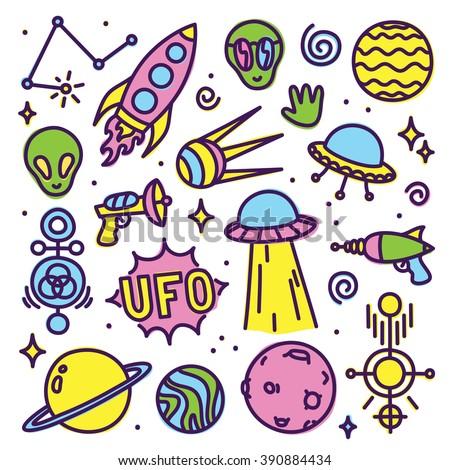 hand drawn cartoon alien space