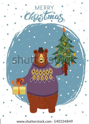 hand drawn cartoon bear wearing