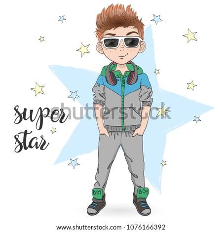 hand drawn cartoon boy with
