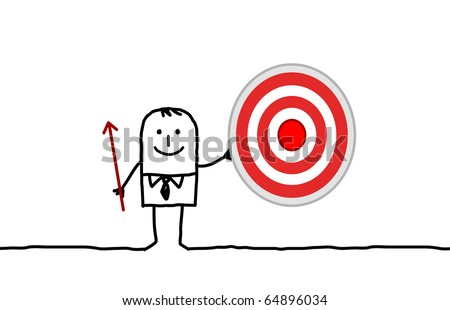 hand drawn cartoon character - businessman & target