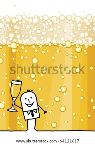 hand drawn cartoon character & champagne