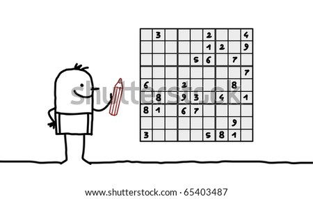 hand drawn cartoon character - man & sudoku