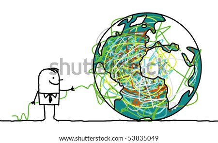 hand drawn cartoon character - man untangling the earth - stock vector